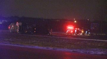 The westbound lanes of Interstate 64 near O'Fallon, Illinois will be closed for hours while crews work to clear an overturned tanker truck. By Stephanie Baumer