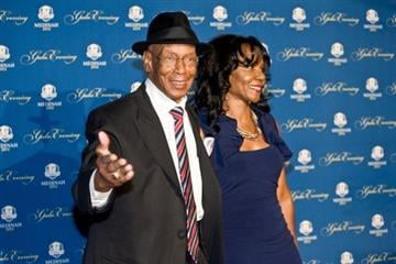 ROSEMONT, IL - SEPTEMBER 26:  Ernie Banks and guest attends the 39th Ryder Cup gala at Akoo Theatre at Rosemont on September 26, 2012 in Rosemont, Illinois.  (Photo by Timothy Hiatt/Getty Images) By Timothy Hiatt
