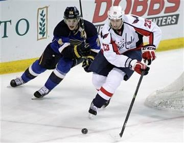 St. Louis Blues' T.J. Oshie (74) chases Washington Capitals' Tyson Strachan (23) during the third period of an NHL hockey game, Tuesday, April 8, 2014, in St. Louis. The Capitals beat the Blues 4-1. (AP Photo/Tom Gannam) By Tom Gannam