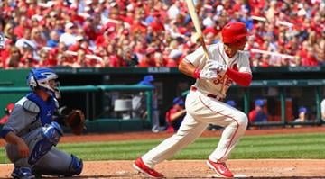 ST. LOUIS, MO - APRIL12: Jon Jay #19 of the St. Louis Cardinals hits a two-RBI single against the Chicago Cubs in the fourth inning at Busch Stadium  on April 12, 2014 in St. Louis, Missouri.  (Photo by Dilip Vishwanat/Getty Images) By Dilip Vishwanat