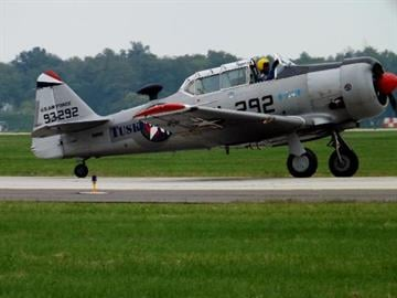 User natenstl sent in this pic of the Tuskegee Airmen Museum's T-6 at the2012 AIRPOWER OF THE MIDWEST Air Show at Scot AFB in September, 2012. By Eric Lorenz
