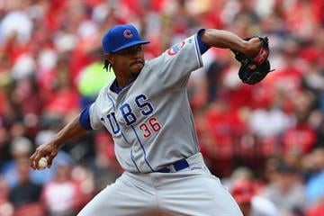 ST. LOUIS, MO - APRIL13: Starter Edwin Jackson #36 of the Chicago Cubs pitches against the St. Louis Cardinals in the first inning at Busch Stadium  on April 13, 2014 in St. Louis, Missouri.  (Photo by Dilip Vishwanat/Getty Images) By Dilip Vishwanat