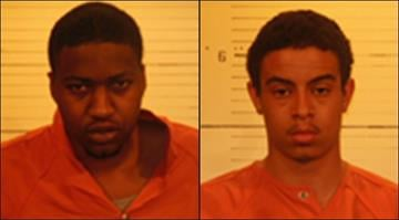 Patrick Holmes Jr., 21 (left), and Clifton Robbins, 22, face felony charges for allegedly robbing a woman outside a Belleville convenience store on April 9. By Brendan Marks
