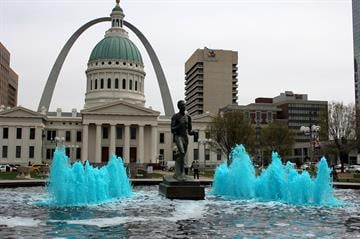 "Several downtown St. Louis buildings were ""bleeding blue"" on Thursday, hours before the Blues were set to take on the Chicago Blackhawks in Game 1 of the First Round of the NHL Stanley Cup Playoffs. By Brendan Marks"