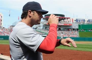 WASHINGTON, DC - APRIL 20: Manager Mike Matheny #22 of the St. Louis Cardinals gives the signs in the second inning against the Washington Nationals at Nationals Park on April 20, 2014 in Washington, DC.  (Photo by Greg Fiume/Getty Images) By Greg Fiume