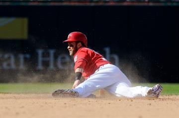 WASHINGTON, DC - APRIL 20:  Bryce Harper #34 of the Washington Nationals steals second base in the eighth inning against the St. Louis Cardinals at Nationals Park on April 20, 2014 in Washington, DC.  (Photo by Greg Fiume/Getty Images) By Greg Fiume