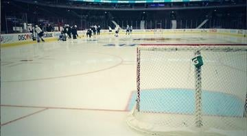 Blues players during their Monday morning skate-around. By Sanders Content KMOV