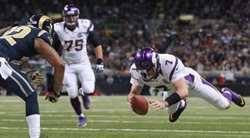 ST. LOUIS, MO - DECEMBER 16: Christian Ponder #7 of the Minnesota Vikings scores a touchdown against the St. Louis Rams at the Edward Jones Dome on December 16, 2012 in St. Louis, Missouri. (Photo by Dilip Vishwanat/Getty Images) By Dan Mueller