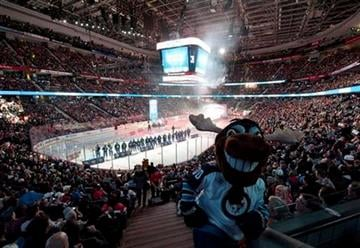 Mick E. Moose, the Winnipeg Jets mascot, takes in the pre-game ceremonies at the NHL All-Star game Sunday, Jan. 29, 2012 in Ottawa. (AP Photo/The Canadian Press, Paul Chiasson) By Paul Chiasson