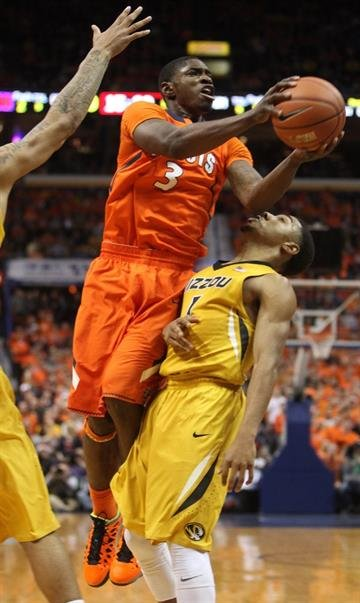 Illinois Illini Brandon Paul gets past Missouri Tigers Phil Pressey for two points in the first half of the 32nd Annual Braggin' Rights game at the Scottrade Center in St. Louis on December 22, 2012. UPI/Bill Greenblatt By BILL GREENBLATT