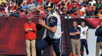 TAMPA, FL - DECEMBER 23: Quarterback Sam Bradford #8 of the St. Louis Rams sets to pass against the Tampa Bay Buccaneers December 23, 2012 at Raymond James Stadium in Tampa, Florida. (Photo by Al Messerschmidt/Getty Images) By Dan Mueller
