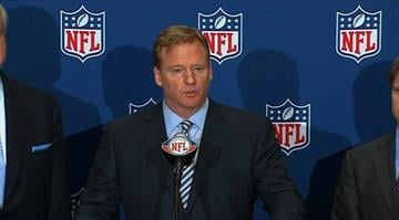 NFL Commissioner Roger Goodell speaks at a July 21, 2011 press conference regarding a player lockout. By Stephanie Baumer