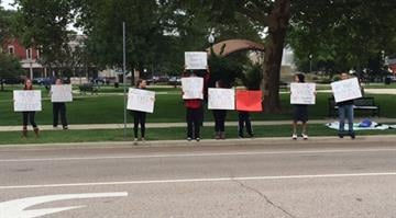 Students in the Highland School District gathered on Friday to support their teachers who are currently on strike. By Stephanie Baumer