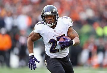 CINCINNATI, OH - DECEMBER 29:  Ray Rice #27 of the Baltimore Ravens runs with the ball during the NFL game against the Cincinnati Bengals at Paul Brown Stadium on December 29, 2013 in Cincinnati, Ohio.  (Photo by Andy Lyons/Getty Images) By Andy Lyons