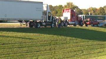 Two people were flown to an area hospital after 3 semi-trucks and an SUV were involved in a rollover crash on Interstate 70 near Wright City, Missouri early Monday morning. By Stephanie Baumer
