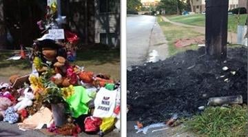 A Michael Brown memorial on Canfield Drive was destroyed by a fire Tuesday morning. By Stephanie Baumer