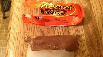 Tamara Powell purchased three Reese's Pumpkins from Dillons at 1015 W. 23rd St. about 6 p.m. Sunday. When she opened the candy, she couldn't believe what she found. By Stephanie Baumer