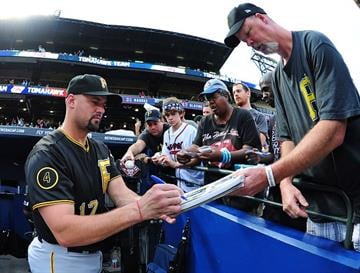 ATLANTA, GA - SEPTEMBER 24: Gaby Sanchez #17 of the Pittsburgh Pirates signs an autograph before the game against the Atlanta Braves at Turner Field on September 24, 2014 in Atlanta, Georgia. (Photo by Scott Cunningham/Getty Images) By Scott Cunningham