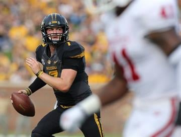 COLUMBIA , MO - SEPTEMBER 20:  Quarterback Maty Mauk #7 of the Missouri Tigers looks to pass against the Indiana Hoosiers in the second quarter at Memorial Stadium on September 20, 2014 in Columbia, Missouri.  (Photo by Ed Zurga/Getty Images) By Ed Zurga
