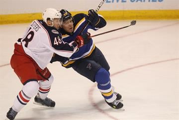 St. Louis Blues Paul Stastny  battles Columbus Blue Jackets Jaime Sifers for position in front of the Columbus goal in the first period at the Scottrade Center in St. Louis on September 25, 2014. UPI/BIll Greenblatt By BILL GREENBLATT