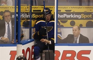 St. Louis Blues Magnus Paajarvi goes to the penalty box for a double minor in the first period against the Columbus Blue Jackets at the Scottrade Center in St. Louis on September 25, 2014. UPI/BIll Greenblatt By BILL GREENBLATT