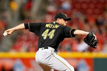 CINCINNATI, OH - SEPTEMBER 26: Tony Watson #44 of the Pittsburgh Pirates pitches in the eighth inning against the Cincinnati Reds at Great American Ball Park on September 26, 2014 in Cincinnati, Ohio. (Photo by Joe Robbins/Getty Images) By Joe Robbins
