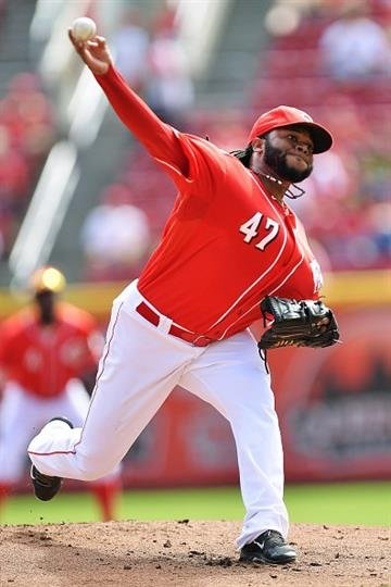 CINCINNATI, OH - SEPTEMBER 28:  Johnny Cueto #47 of the Cincinnati Reds pitches against the Pittsburgh Pirates in the first inning at Great American Ball Park on September 28, 2014 in Cincinnati, Ohio.  (Photo by Jamie Sabau/Getty Images) By Jamie Sabau