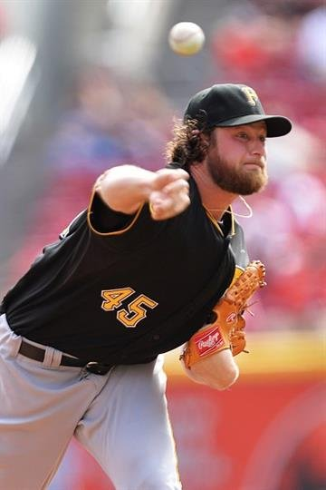 CINCINNATI, OH - SEPTEMBER 28:  Gerrit Cole #45 of the Pittsburgh Pirates pitches in the first inning against the Cincinnati Reds at Great American Ball Park on September 28, 2014 in Cincinnati, Ohio.  (Photo by Jamie Sabau/Getty Images) By Jamie Sabau