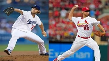 Kershaw (left) and Wainwright (right) are expected to face each other in the series' first game