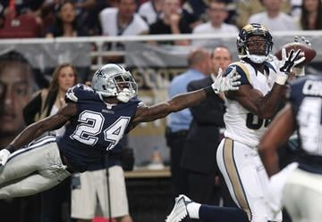 St. Louis Rams Brian Quick catches the fooball in front of the outstretched Dallas Cowboys Morris Claiborne  for a touchdown in the second quarter at the Edward Jones Dome in St. Louis on September 21, 2014. UPI/Bill Greenblatt By BILL GREENBLATT