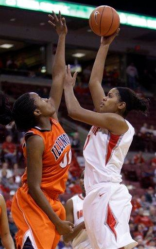 Ohio State's Andrea Walker, right, shoots over Illinois' Karisma Penn during the second half of an NCAA college basketball game Thursday, Jan. 14, 2010, in Columbus, Ohio. Ohio State beat Illinois 72-61. (AP Photo/Jay LaPrete) By Jay LaPrete