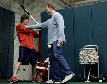 St. Louis Cardinals batting coach Mark McGwire, right, works with Cardinals outfielder Colby Rasmus in a batting cage Sunday, Jan. 17, 2010, at Busch Stadium in St. Louis. (AP Photo/Jeff Roberson) By Jeff Roberson