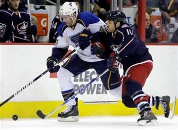 St. Louis Blues' David Backes, left, and Columbus Blue Jackets' Chris Clark chase a loose puck during the first period of an NHL hockey game Monday, Jan. 18, 2010, in Columbus, Ohio. (AP Photo/Jay LaPrete) By Jay LaPrete