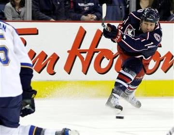 Columbus Blue Jackets' Raffi Torres takes a shot against the St. Louis Blues during the second period of an NHL hockey game Monday, Jan. 18, 2010, in Columbus, Ohio. The Blue Jackets defeated the Blues 4-2. (AP Photo/Jay LaPrete) By Jay LaPrete