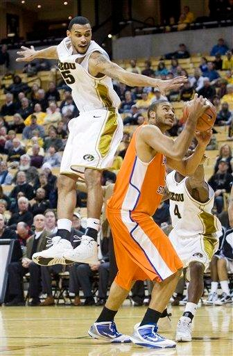 Missouri's Keith Ramsey, left, tries to block the shot of Savannah State's Rod Mitchell, right, during the first half of an NCAA college basketball game Wednesday, Jan. 6, 2010, in Columbia, Mo. (AP photo/L.G. Patterson) By L.G. Patterson