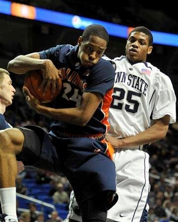 Illinois Mike Davis pulls down a rebound in front of Penn State's Jeff Brooks in first half action of NCAA college basketball in State College, Pa. Wednesday, Jan. 27, 2010. (AP Photo/Ralph Wilson) By Ralph Wilson