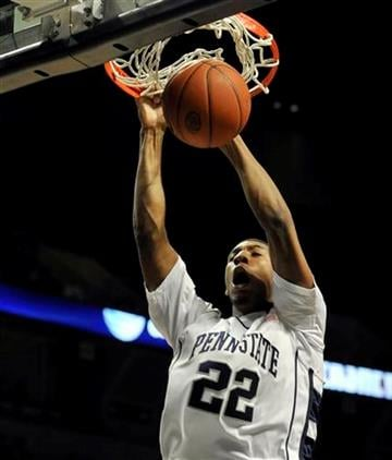 Penn State's Andrew Jones dunks a basket for two points against Illinois in first half action of an NCAA college basketball in State College, Pa. Wednesday, Jan. 27, 2010. (AP Photo/Ralph Wilson) By Ralph Wilson