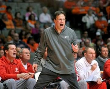 Indiana coach Tom Crean yells from the sidelines in the first half of an NCAA College basketball game against Illinois  in Champaign, Ill on Saturday, Jan. 30, 2010.   (AP Photo/Heather Coit) By Heather Coit