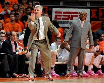 Illinois coach Bruce Weber tries to communicate from the sidelines in the second half of an NCAA college basketball game against Indiana in Champaign, Ill. on Saturday, Jan. 30, 2010. Illinois won 72-70. (AP Photo/Heather Coit) By Heather Coit