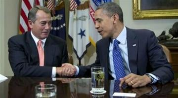 President Barack Obama shakes hands with House Speaker John Boehner of Ohio in the Roosevelt Room of the White House in Washington, Friday, Nov. 16, 2012, during a meeting to discuss the deficit and economy. (AP Photo/Carolyn Kaster) By Carolyn Kaster