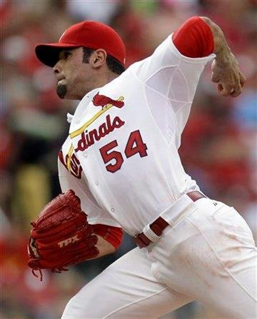 St. Louis Cardinals starting pitcher Jaime Garcia throws during the second inning of an interleague baseball game against the Toronto Blue Jays on Saturday, June 25, 2011, in St. Louis. (AP Photo/Jeff Roberson) By Jeff Roberson