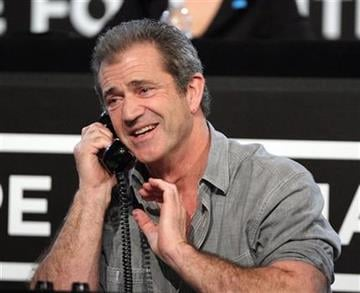 "In this image released by Hope for Haiti Now, Mel Gibson works the phone bank at the ""Hope for Haiti Now: A Global Benefit for Earthquake Relief"", on Friday, Jan. 22, 2010 in Los Angeles. (AP Photo/Mark Davis/Hope for Haiti Now) By Mark Davis"