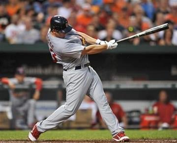 St. Louis Cardinals' David Freese follows through on a single against the Baltimore Orioles in the third inning of a baseball game Tuesday, June 28, 2011, in Baltimore. The Cardinals won 6-2. (AP Photo/Gail Burton) By Gail Burton