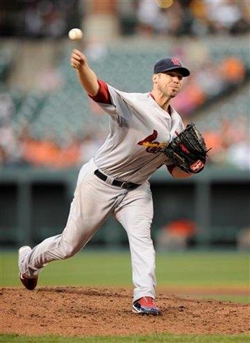 St. Louis Cardinals starting pitcher Chris Carpenter throws during the third inning of an interleague baseball game against the Baltimore Orioles, Wednesday, June 29, 2011, in Baltimore. (AP Photo/Nick Wass) By Nick Wass
