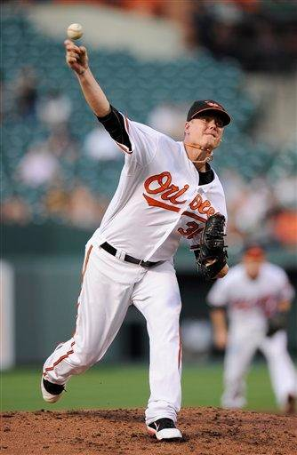 Baltimore Orioles relief pitcher Chris Jakubauskas throws against the St. Louis Cardinals during the third inning of an interleague baseball game, Wednesday, June 29, 2011, in Baltimore. (AP Photo/Nick Wass) By Nick Wass