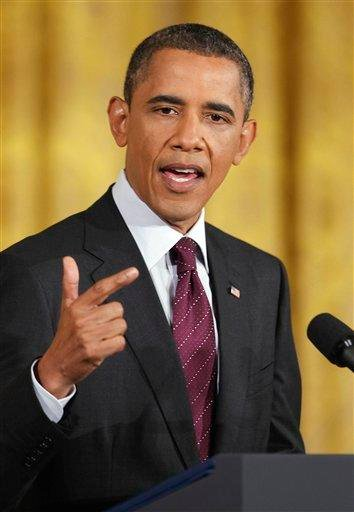 President Barack Obama gestures during a news conference in the East Room of the White House in Washington, Wednesday, June 29, 2011. (AP Photo/Charles Dharapak) By Charles Dharapak