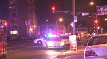 The scene of an overnight pedestrian accident in downtown St. Louis. By KMOV