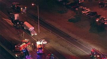Skyzoom 4 was over the scene and saw the cab of the truck detached from the tank around 6:30 a.m. By Stephanie Baumer
