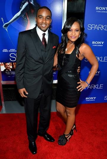 """HOLLYWOOD, CA - AUGUST 16:  Bobbi Kristina Brown (R) and Nick Gordon arrive at Tri-Star Pictures' """"Sparkle"""" premiere at Grauman's Chinese Theatre on August 16, 2012 in Hollywood, California.  (Photo by Frazer Harrison/Getty Images) By Frazer Harrison"""