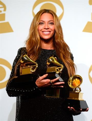 LOS ANGELES, CA - FEBRUARY 08:  Beyonce poses in in the press room during The 57th Annual GRAMMY Awards at the STAPLES Center on February 8, 2015 in Los Angeles, California.  (Photo by Frazer Harrison/Getty Images) By Frazer Harrison